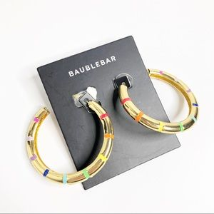 Baublebar Rainbow Gold Tone Hoop Earrings NEW